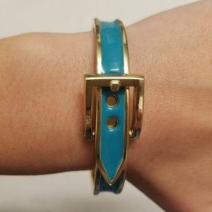 Jewelry - Teal Enamel Gold Belt Cuff Bracelet Party Bangle
